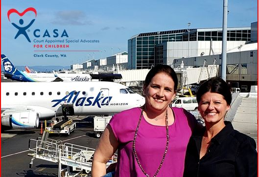 Emily Edwards (pictured left) and Julie Haro (pictured right) are CASA Clark County volunteers who also work for Alaska Airlines.