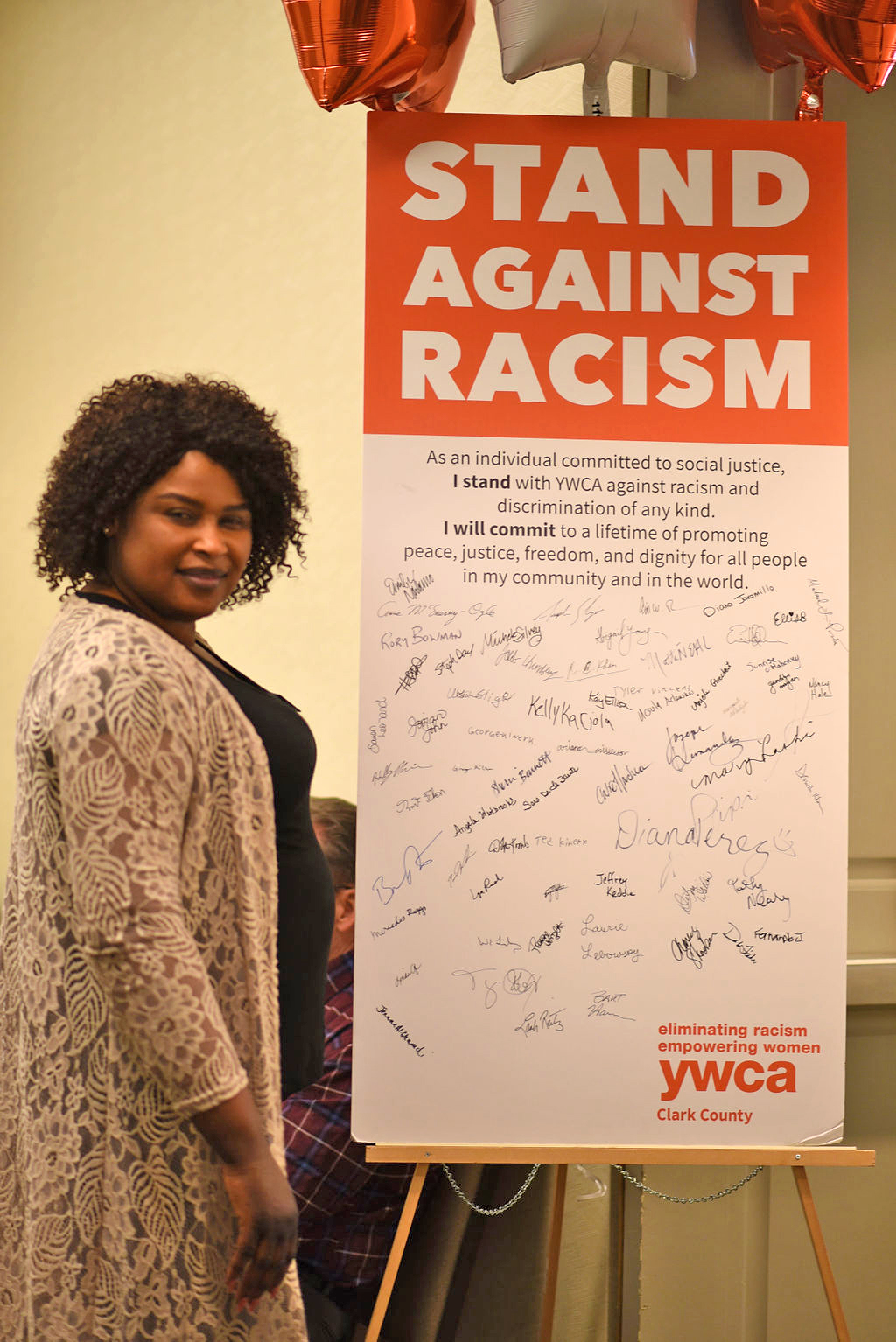 Signatures of those taking a stand against racism